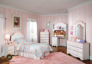 Set Kamar Tidur Anak Perempuan Pink Cat Duco