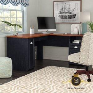 Meja Kantor Sudut Jati Minimalis Modern