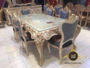 Meja makan ukir model mewah