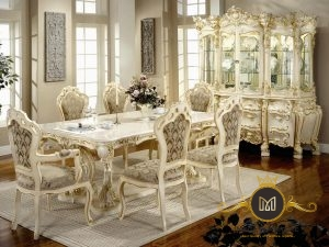 Set meja Makan Ukir Mewah Modern