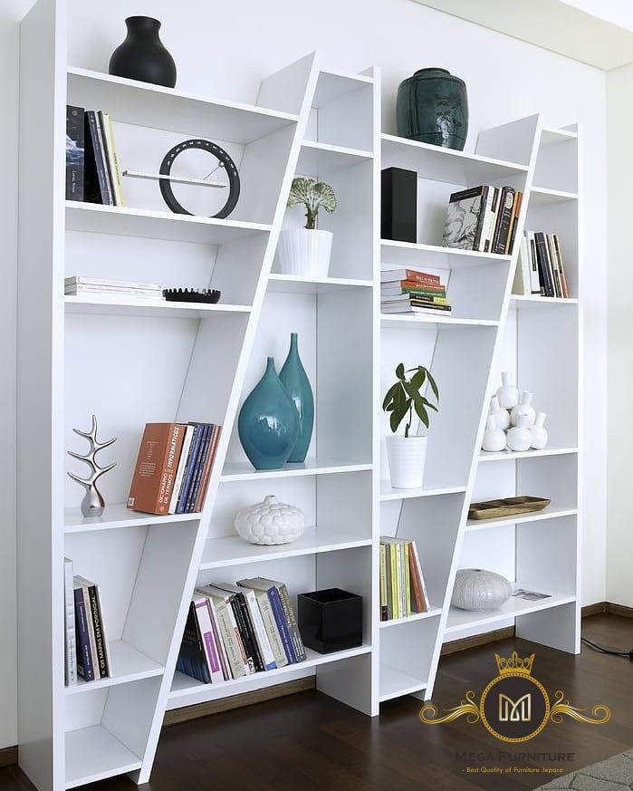 Rak Buku Skat Miring Modern