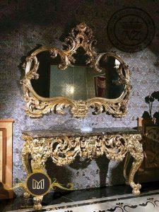 Meja Konsol Klasik Eropa Gold Duco Mewah