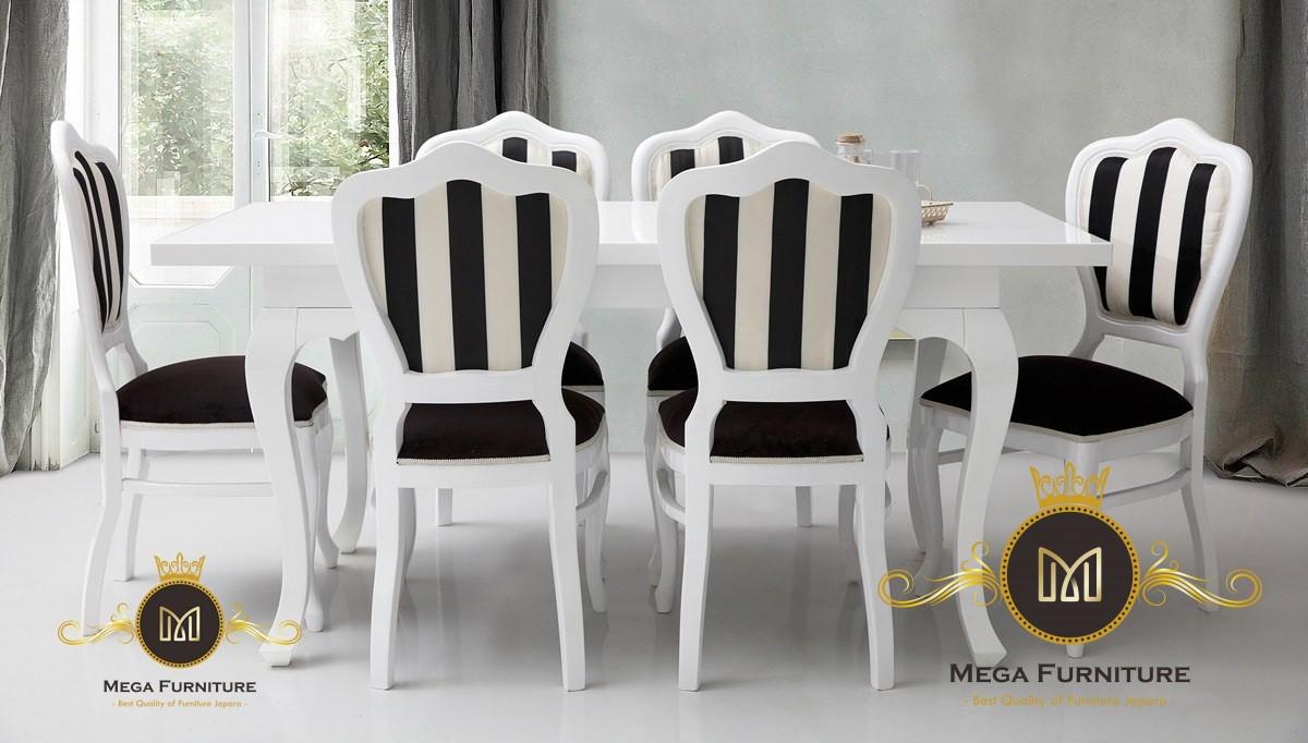 Set Kursi Makan Hitam Putih   Mega Furniture