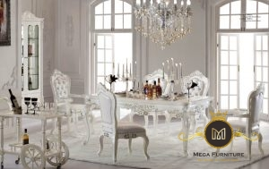 Set Meja Makan Mewah White Modern