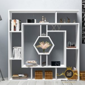 Rak Buku Unik Modern Geometrik Jepara