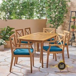 Set Meja Makan Outdoor 6 Kursi Bungalow