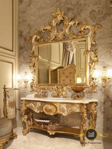Meja Rias Ukir Luxury Gold